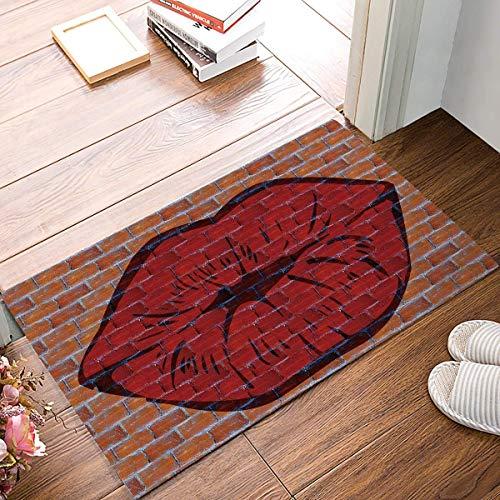 (jacson Non-Slip Door Mat Entrance Rug Rectangle Absorbent Moisture Floor Carpet for Indoor Outdoor Brick Wall, Red Lips Pattern Doormat (15.7x23.6 inch))