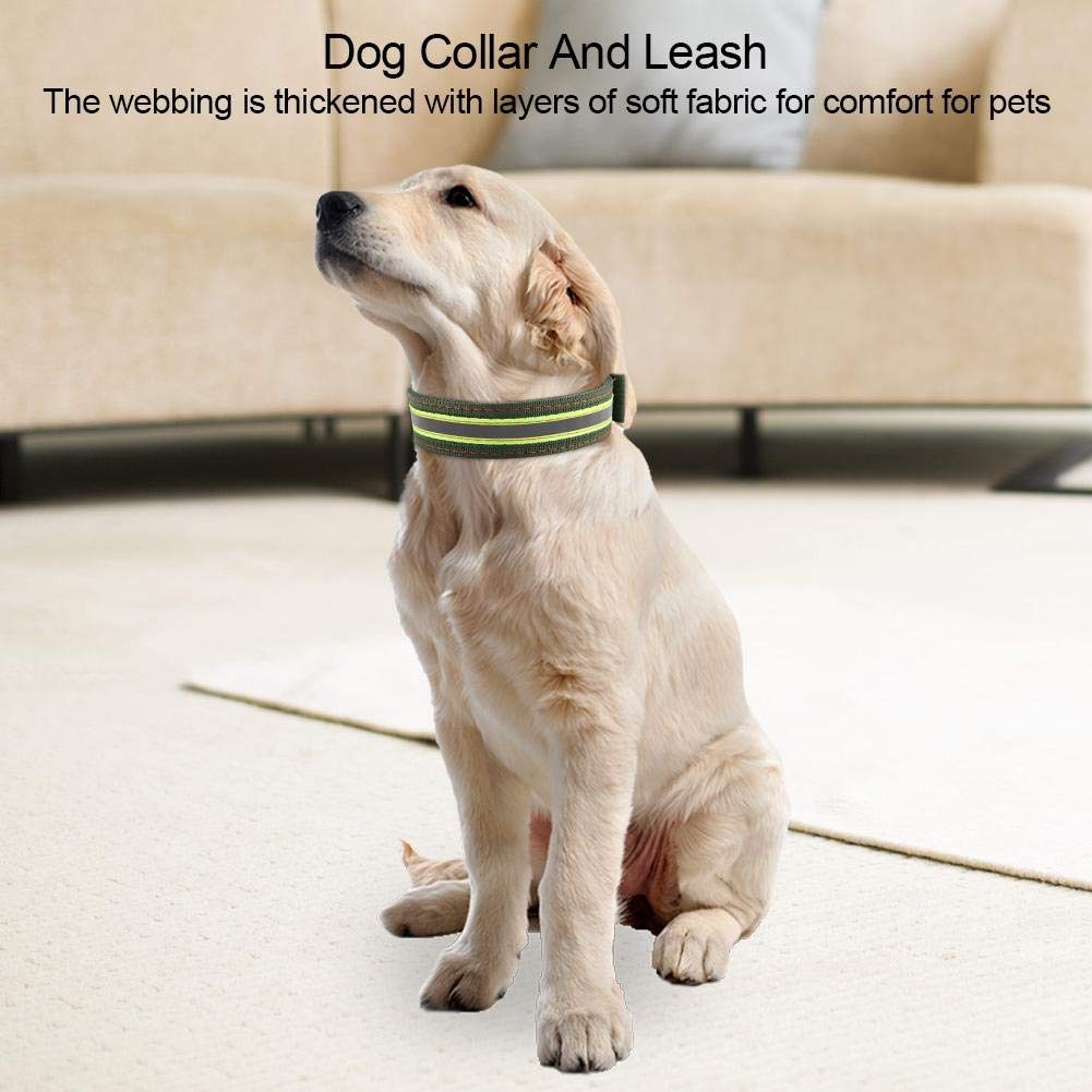 Pssopp Collar de Perro Ajustable Collar de Perro de Nylon Duradero Collar de Perro Reflectante Collar de Perro Grueso Resistente para Perros medianos a Grandes