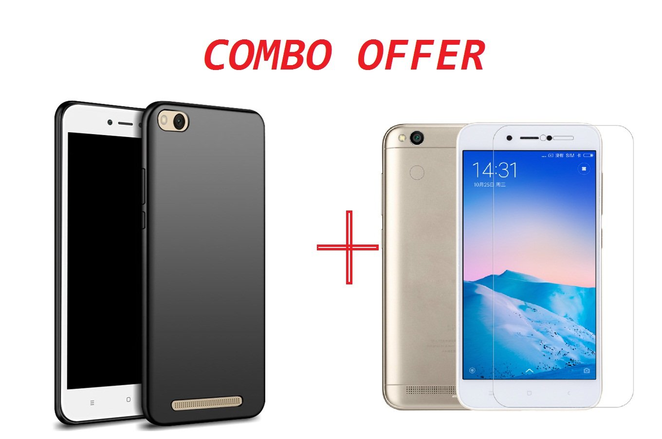 classic fit 2cb6a 7070d REDMI 5A Black Rubber Back Cover + Tempered Glass (Combo Pack) by CLOROX