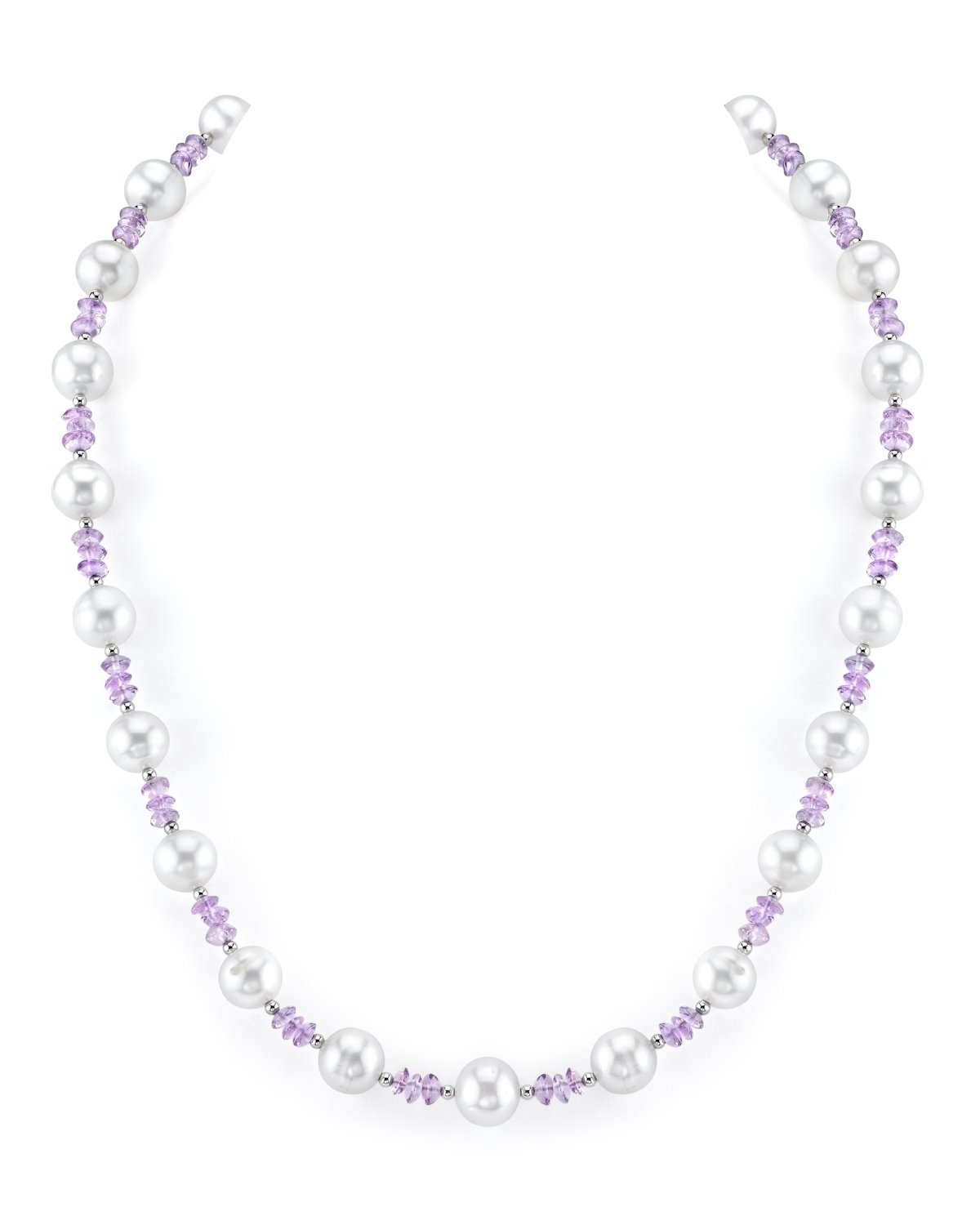 8-9mm Genuine White Freshwater Cultured Pearl & Amethyst Necklace for Women