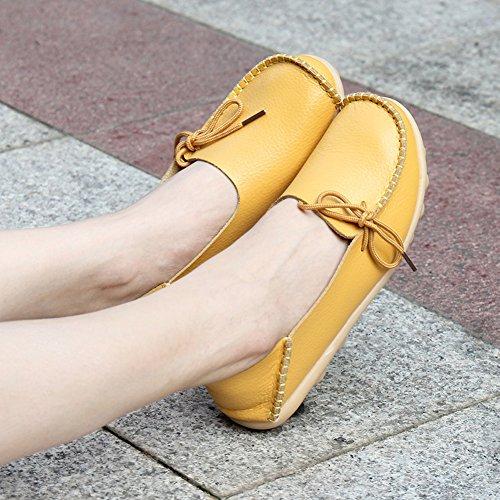 KEESKY Damen Leder Loafers Aushöhlen Casual Slip On Driving Schuhe 03 Gelb