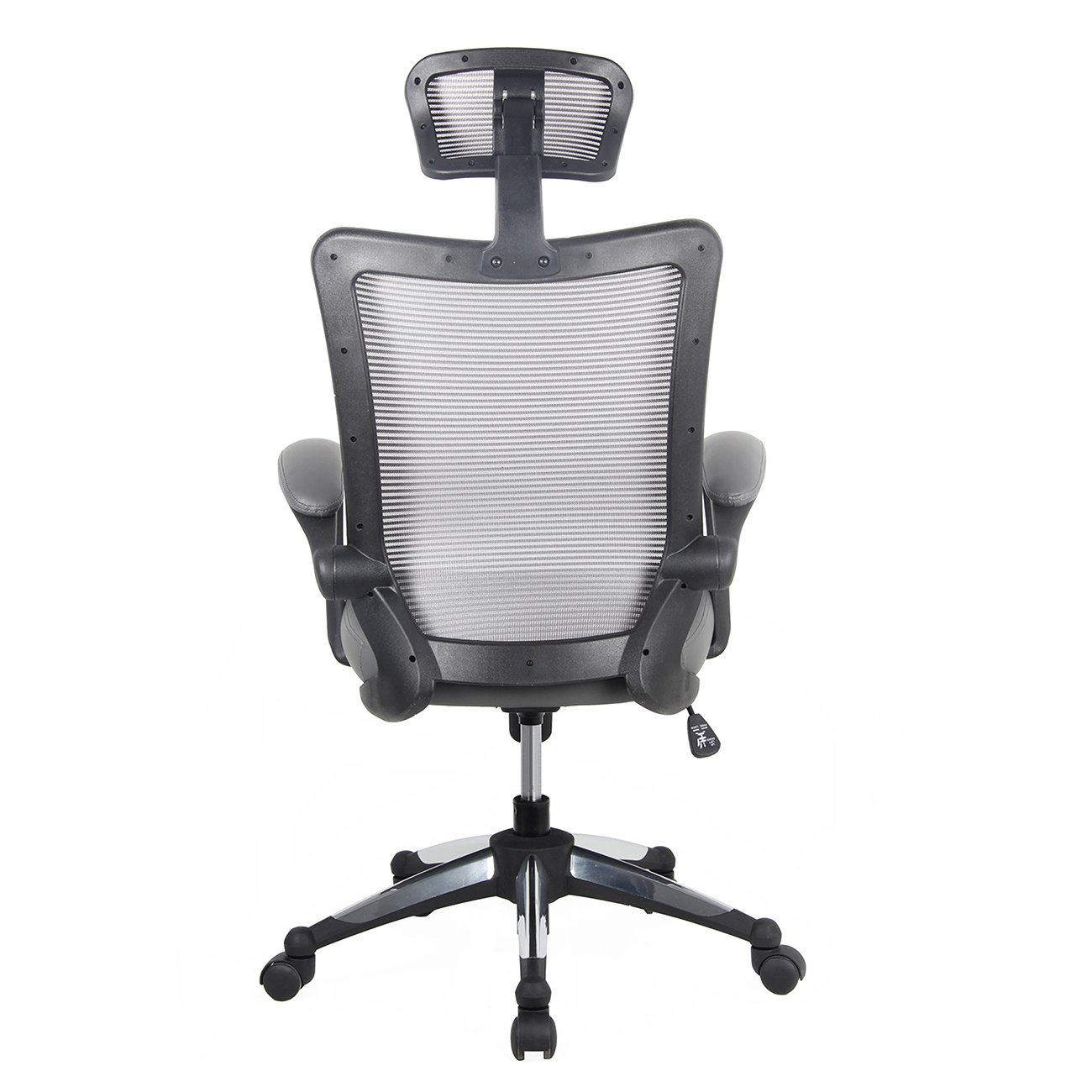 Gray Techni Mobili High-Back Mesh Executive Office Chair with Headrest