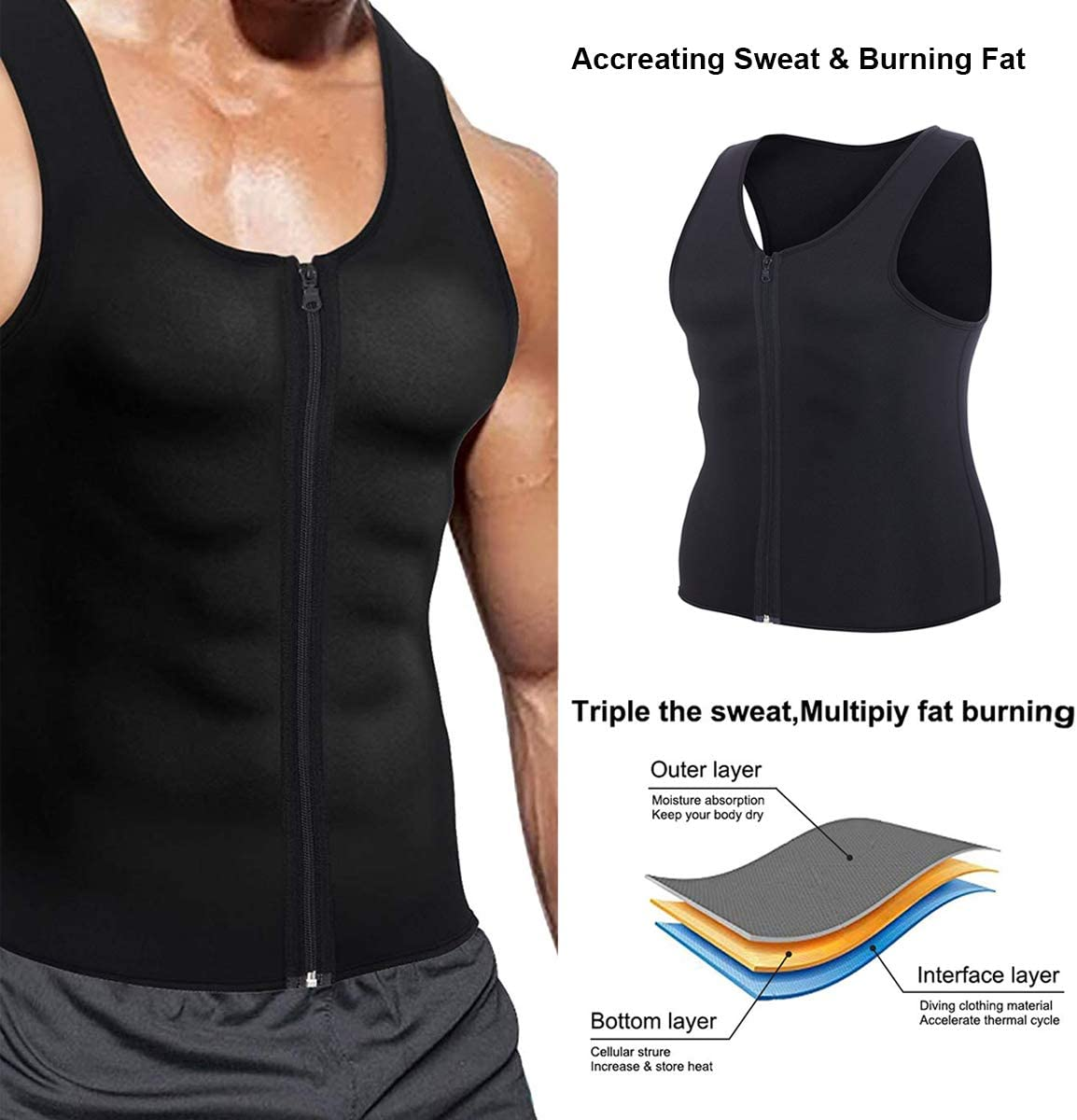 Ufanore Waist Trainer Vest for Men, Hot Neoprene Sauna Vest with Zipper, Sauna Tank Top Workout Shirt for Weight Loss