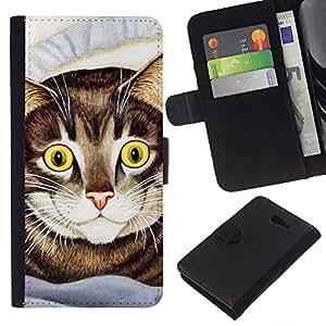 Cat Painting American Shorthair Happy - la tarjeta de Crédito Slots PU Funda de cuero Monedero caso cubierta de piel Sony Xperia M2