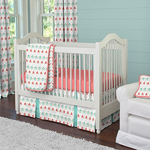 Carousel Coral and Teal Arrow 3-Piece Crib Bedding Set