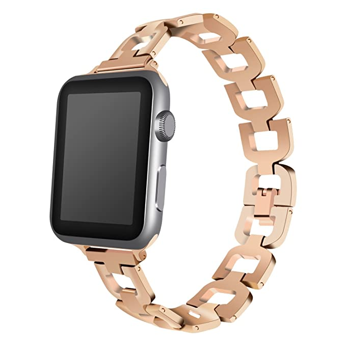 Apple Watch Banda, acero inoxidable de reloj inteligente banda ajustable de repuesto para Apple Watch