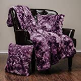 Purple Throw Pillows Chanasya 3-Piece Faux Fur Throw Blanket Pillow Cover Set - Super Soft Fuzzy Cozy Fluffy Plush Sherpa Throw (50