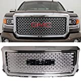Grille Fits 2014-2015 GMC Sierra 1500 | Vertical style ABS Plastic Chrome Front Bumper Grill Hood Mesh by IKON MOTORSPORTS