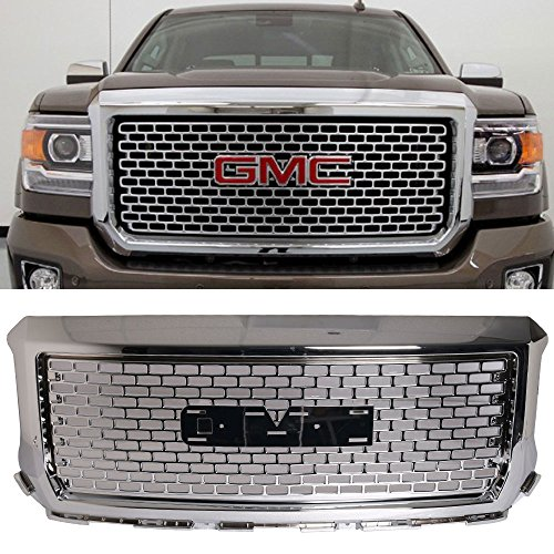 (Grille Fits 2014-2015 GMC Sierra 1500 | Vertical style ABS Plastic Chrome Front Bumper Grill Hood Mesh by IKON MOTORSPORTS )