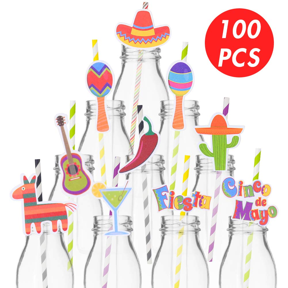 Koogel 100pcs Fiesta Party Supplies Straws,Cinco De Mayo Straws Mexican Straws Paper Straw Decoration for Mexican Themed Parties Hawaii Themed Celebrations Summer Beach Parties