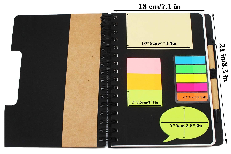 segnapagina a righe Taccuino Steno 120 pagine con tasca lavoro copertina in carta kraft a spirale foglietti adesivi colorati ufficio diario per scuola portapenna GRT