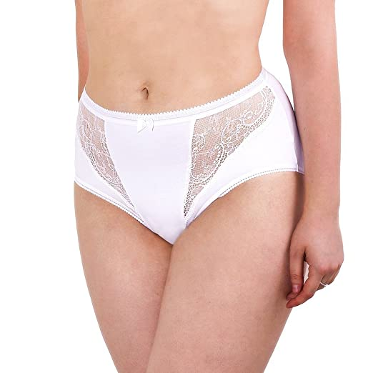 abee3baa64363 Image Unavailable. Image not available for. Color: Womens Underwear Pack  Cotton Brief Lace Trim Plus Size ...