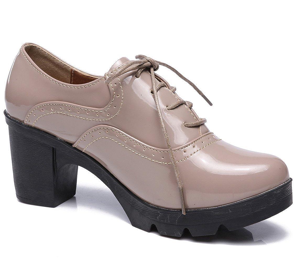 Derbies Jane À Cuir Baskets Ville Femmes Dadawen Oxfords De Plateformemary Lacets Chaussures ALRj54