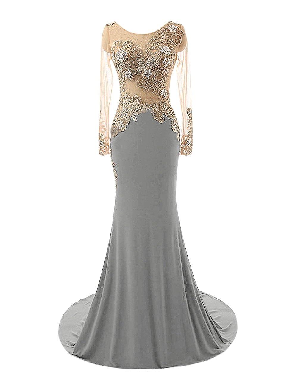 Steel Grey Bess Bridal Women's Mermaid Beaded Sheer Long Sleeves Prom Evening Dresses