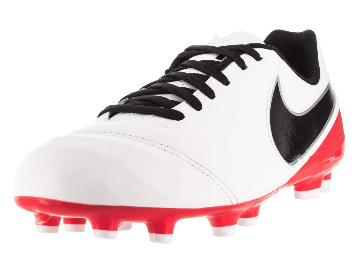 NIKE Youth's Jr Tiempo Legend VI FG White/Red Soccer Cleats 819186 106 size 3y by NIKE (Image #1)
