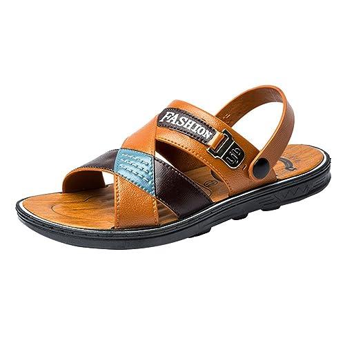 Sandalias De Vestir Hombre Zapatos De Playa Zapatillas De Verano Amarillo Marrón 44: Amazon.es: Zapatos y complementos
