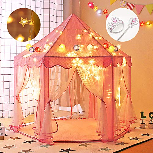 "Gentle Monster Princess Castle Play Tents for Girls, Kids Playhouse Indoor & Outdoor, Pink Hexagon Toy Game Houses with Extended 5m 50 LED Star Tent Lights, Large Size 55"" x 53"""
