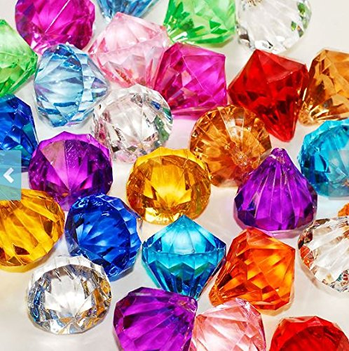 Homeneeds Inc Round Diamond Crystals Treasure Gems Table Scatters, Vase Fillers, Event, Wedding, Birthday Decoration Favor, Arts & Crafts (1 lb. Bag) (Multicolored)