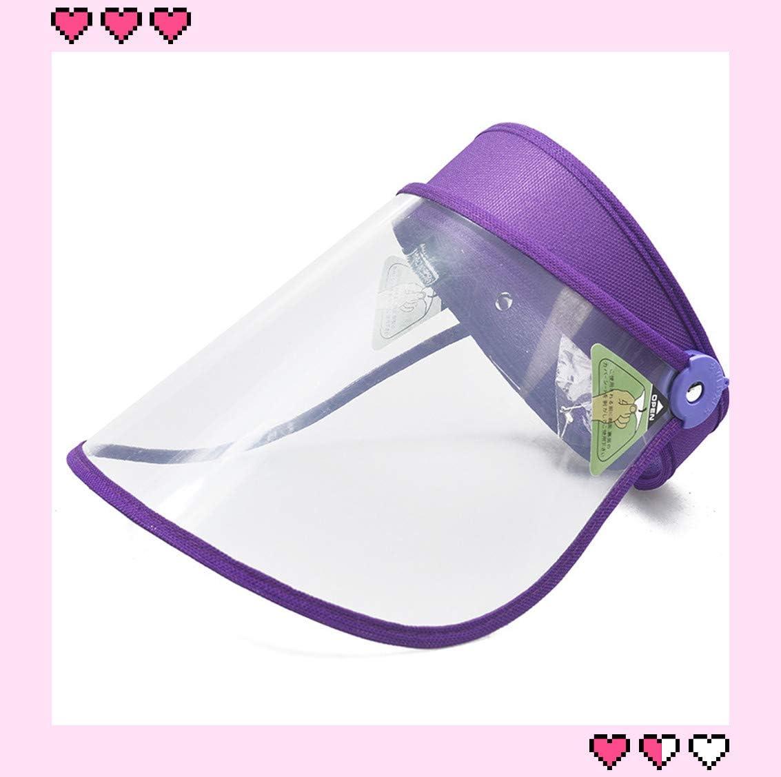 Película Protección saliva Facial, anti-arena, anti-niebla, sombrero marco visera ajustable (púrpura)