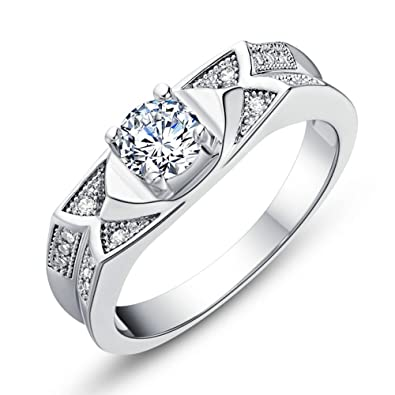 FT-Ring Fashion White Stone Rings Silver Color Rings Jewelry For Women Wedding Rings