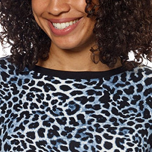 Ellen Tracy Ladies' Short Sleeve Top-Blue Leopard, (Large)