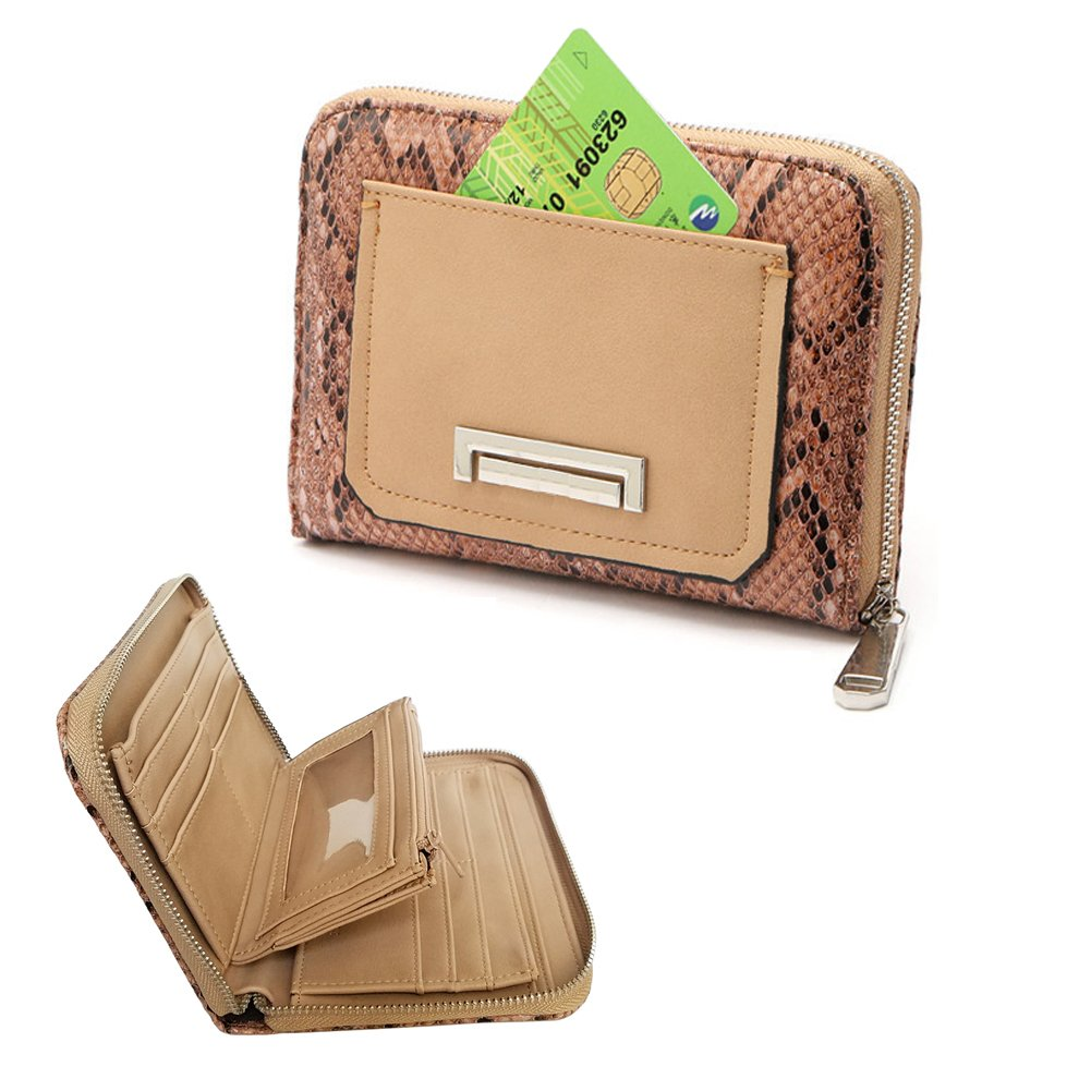 Women's Wristlet Wallet FanCarry PU Leather Clutch Purse Card Organizer w/ Front Zipper Pockets 4331331744