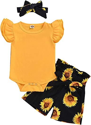 Baby Girls Clothes Ruffle Fly Sleeve Rompers Baby Shorts Bowknot Headband Newborn Outfits Set