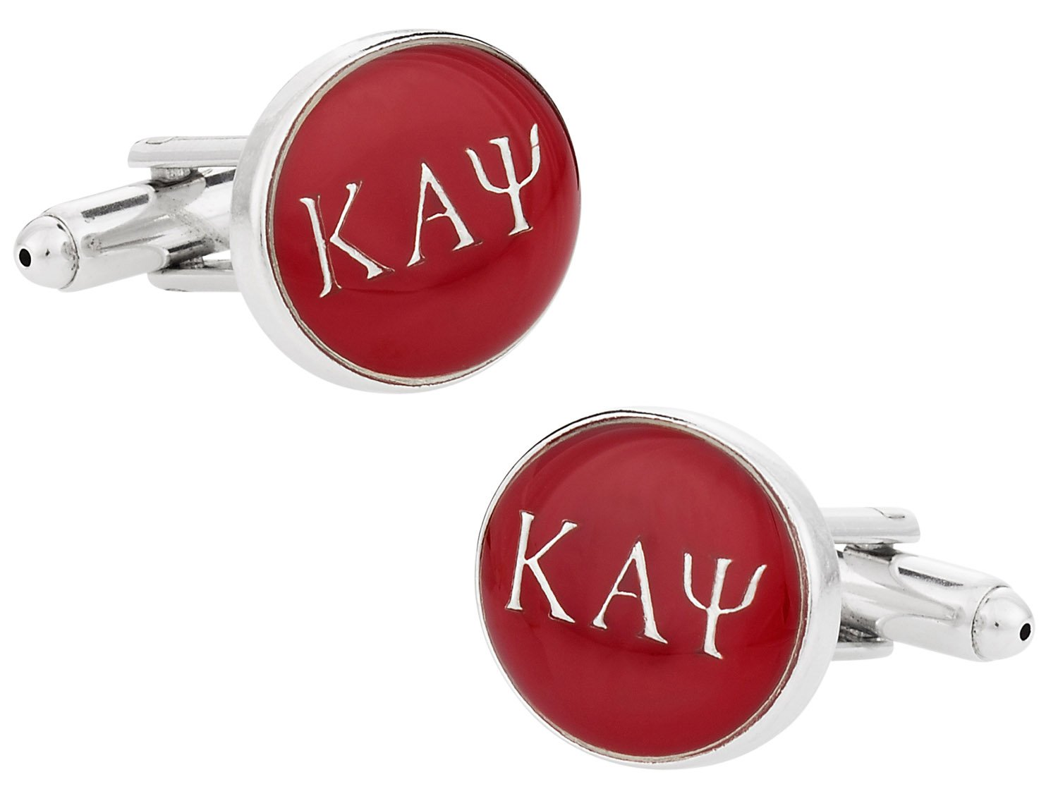 Cuff-Daddy Kappa Alpha Psi Cuff Links with Hard-Sided Presentation Box - Red & Silver