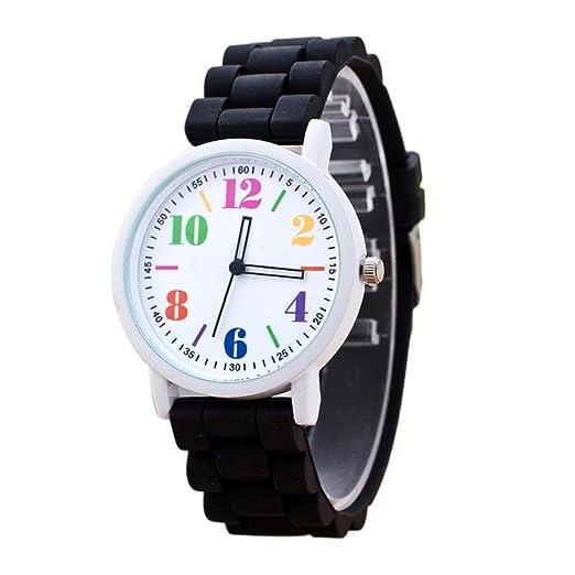 SKY Mujer La Sra silicona reloj deportivo Silicone Motion Quartz Watches  (Negro)  Amazon.es  Relojes 44192d62333b