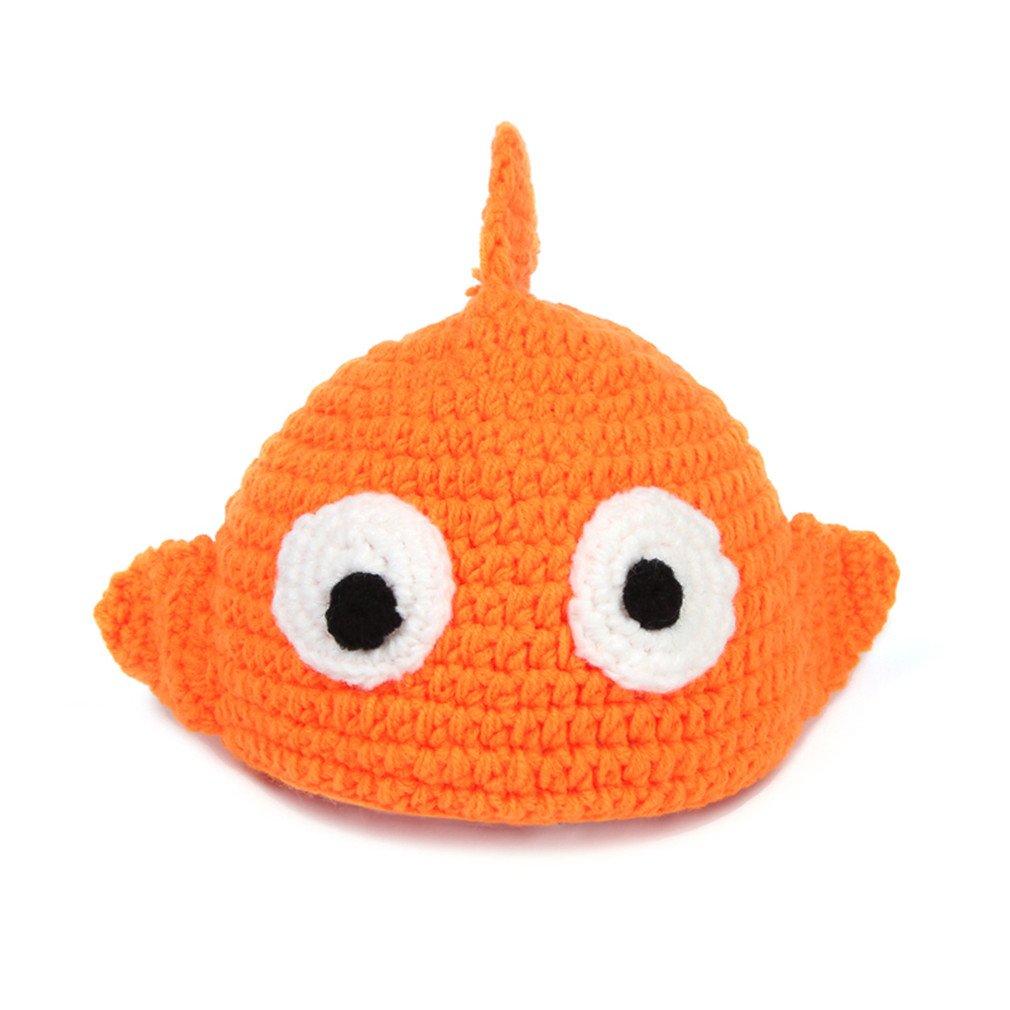 JTC B/éb/é V/êtement Bonnet Beanie Photographique en Velours en Forme Poisson main-crochet-Orange