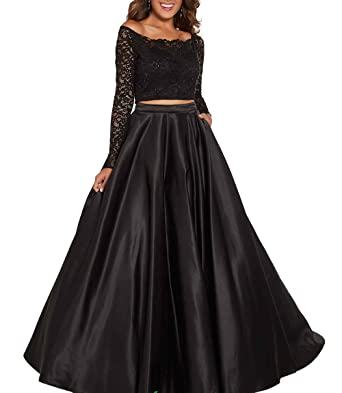 0484edacd Clothfun Women's Two Piece Prom Dresses Long Sleeves Lace Pageant Dress  Formal Party Gowns PM36 Black