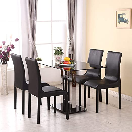 Conemi - Mesa de Comedor y sillas de Cristal, Juego de 1 Mesa + 4 ...