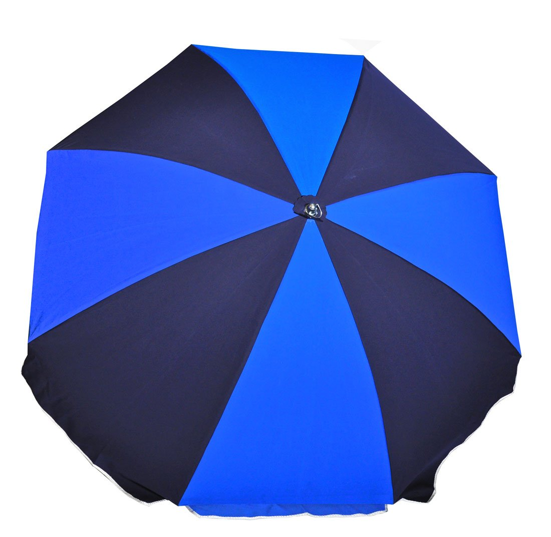 7.5 ft.Steel Commercial Grade Beach Umbrella with Ash Wood Pole (Pacific Blue/Navy Blue, 7.5 ft Canopy - Add Carry Bag)