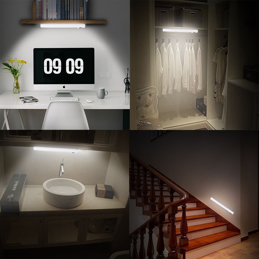 [Upgraded]VIBELITE 9 LED Motion Sensing Closet Lights, 2 Pack DIY Stick-on Anywhere Portable 9-LED Wireless Cabinet Night/Stairs/Step Light Bar with 360° Rotated Sensor (Battery Operated) by VIBELITE (Image #7)