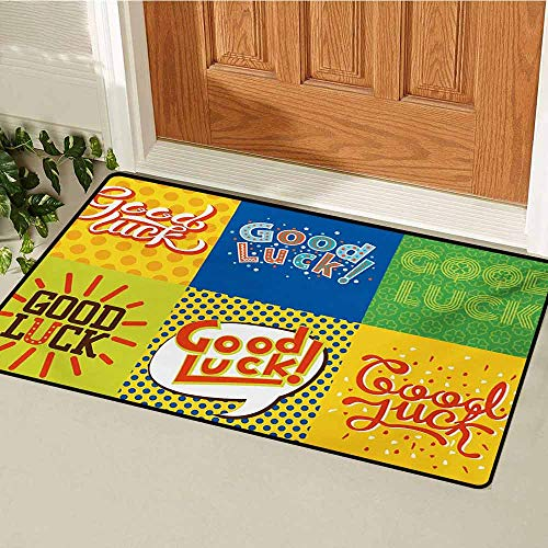 GUUVOR Going Away Party Inlet Outdoor Door mat Lucky Phrase Text Farewell Comic Book Pop Artwork Retro Typography Print Catch dust Snow and mud W31.5 x L47.2 Inch Multicolor