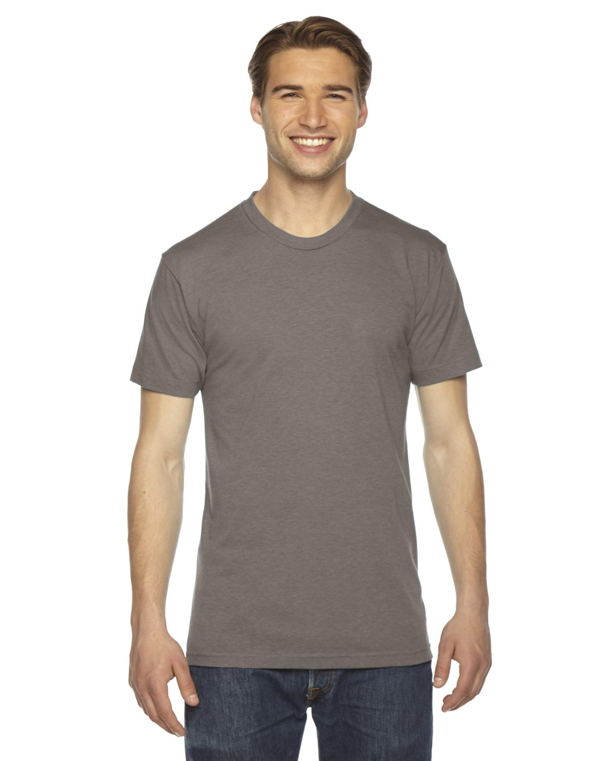 American Apparel Unisex Tri-Blend Short Sleeve Track T-Shirt (L) (Tri-Coffee)