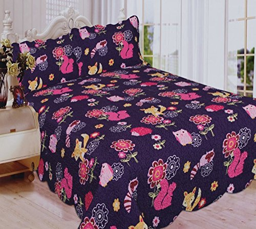 Mk Collection 3 Pc Bedspread Teens/girls Owl Fox Animals Purple New (Full) ()