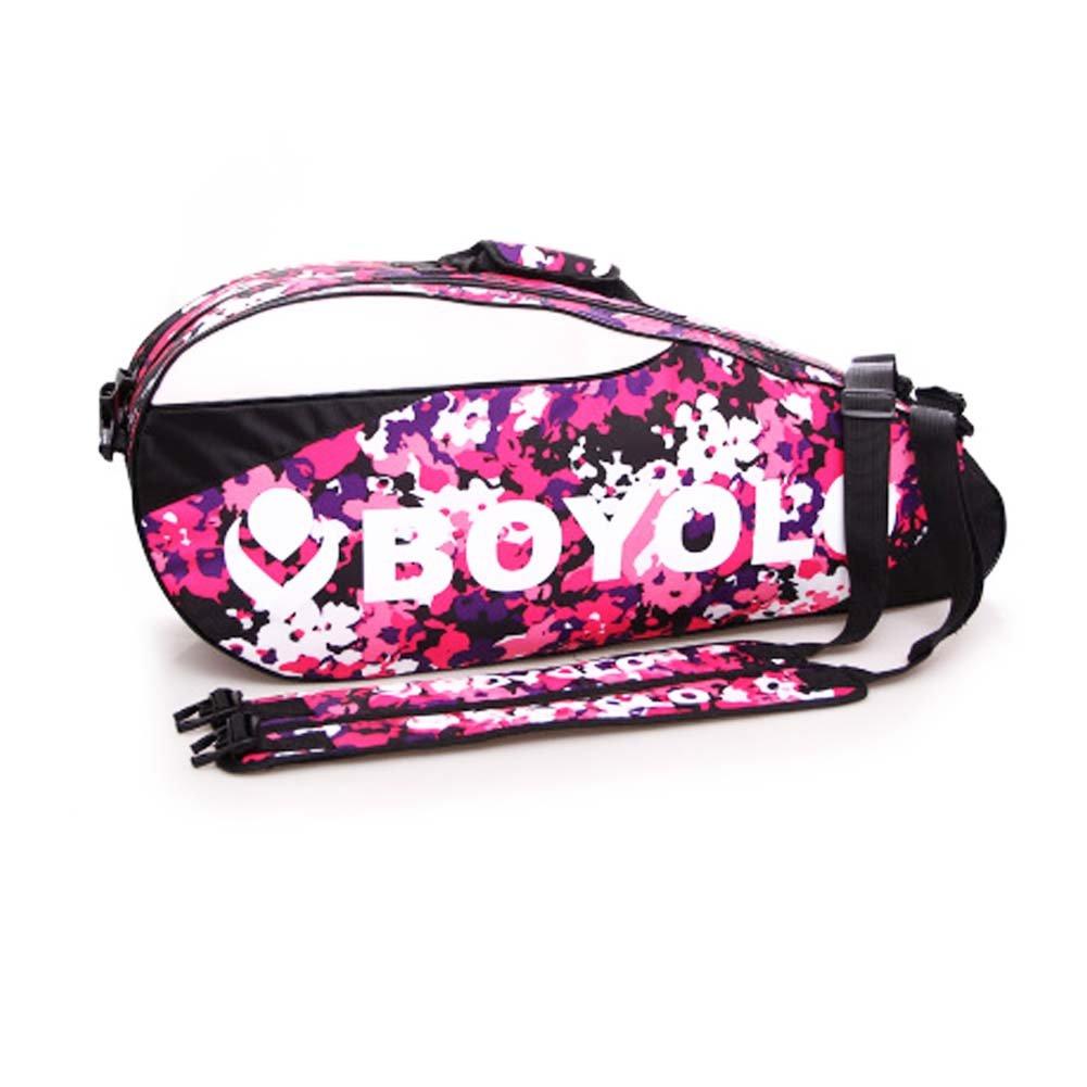 2 Shoulder Straps Waterproof And Dustproof Racket Bag 6 Racquet Bag,Pink Black Temptation