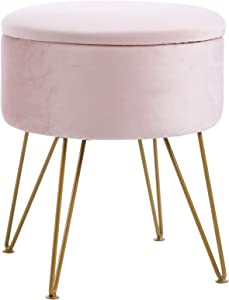 IBUYKE Storage Ottoman Chair Stool Upholstered Footrest Stool Velvet Dressing Table Seat Pouf Couch Stool Golden Steel Legs Removable Cover, (DiaxH) 39X45.5cm LG-002