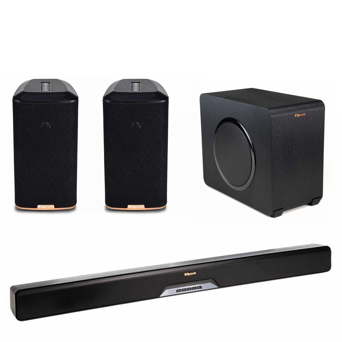 Klipsch RSB-11 Reference Sound Bar with Wireless Subwoofer with RW-1 Wireless Speakers - Pair (Black)
