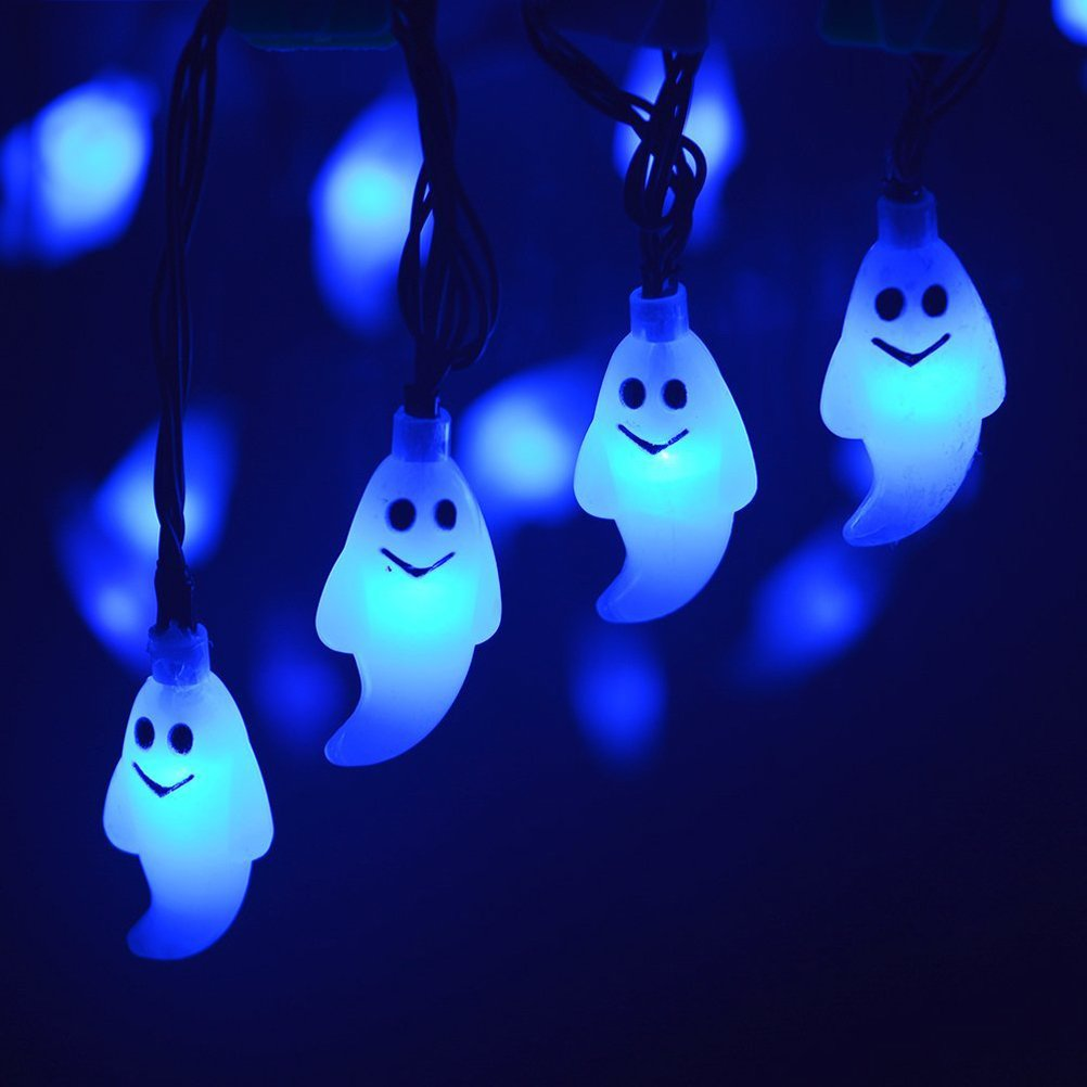 LEDMOMO Halloween String Lights 20-LED Ghost Solar String Light for Indoor and Outdoor Bedroom Patio Garden Wedding Party Decoration (Blue) by LEDMOMO (Image #3)