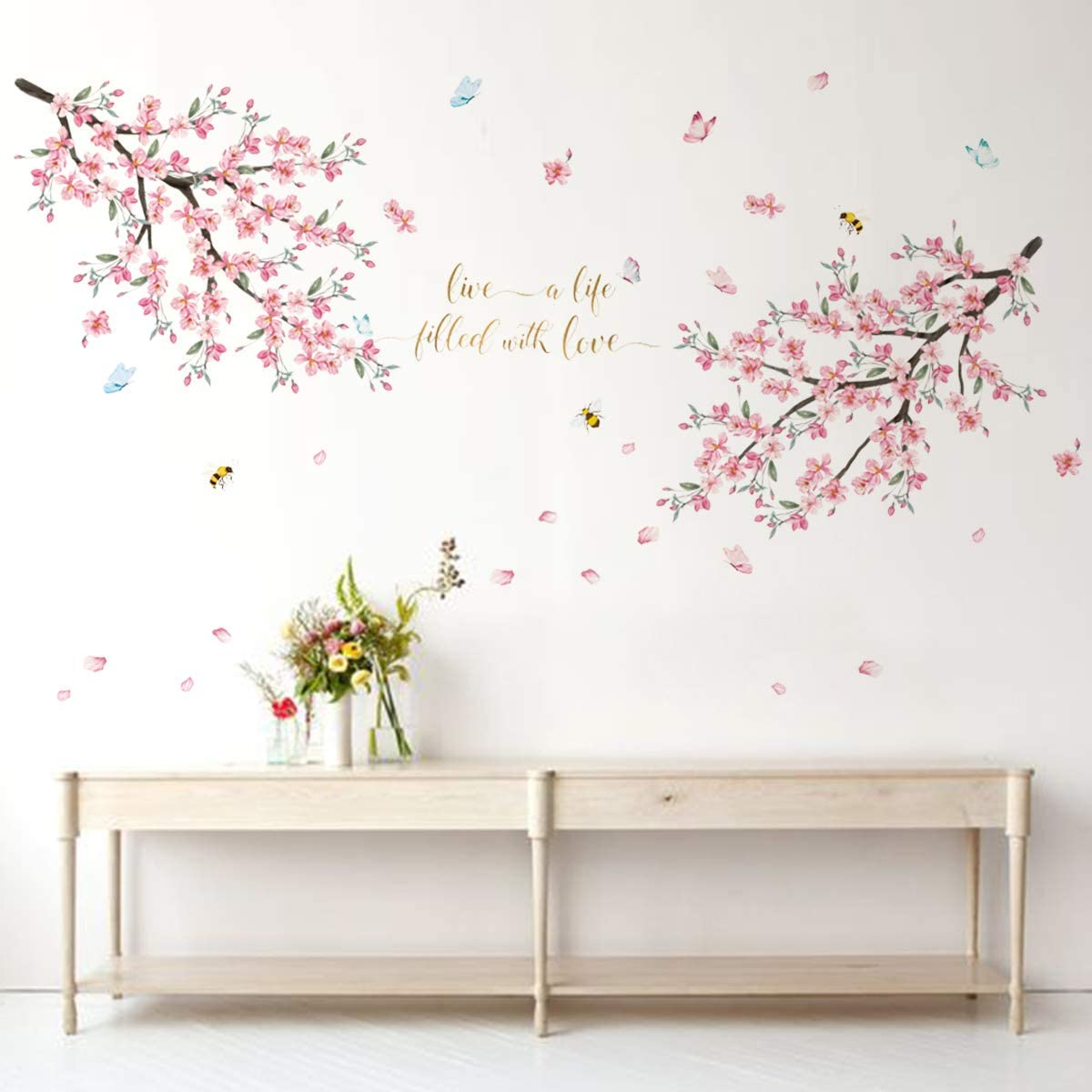Runtoo Cherry Blossom Wall Decal Flower Tree Branch Wall Art Stickers Living Room Bedroom Wall Décor