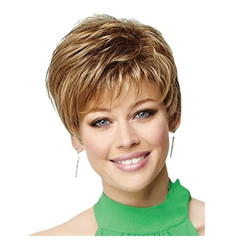 Royalfirst Peluca para mujer – Peluca de pelo corto resistente al calor pelo rubio sintético pelo