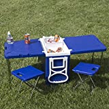 Multi Function Rolling Cooler With Table And 2 Chairs Picnic Camping Outdoor by Best Choice Products