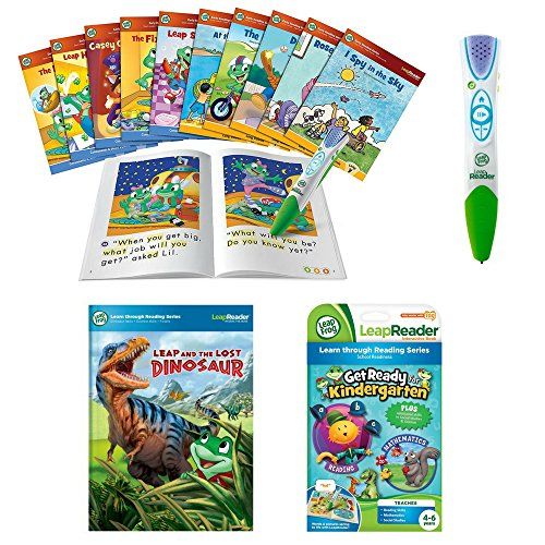 Kids Age 4+ LeapReader Learn To Read 10-Piece Bundle With LeapReader Reading & Writing System, Get Ready for Kindergarten & Leap and the Lost Dinosaur Book, LeapFrog, Learning Toys, Interactive Toys