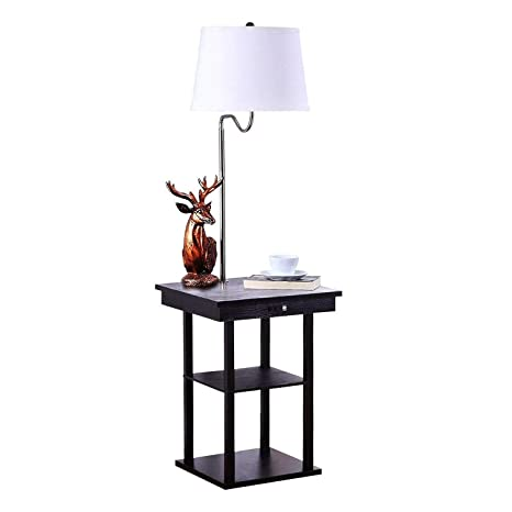 QIANGUANG Moderno, Mesita de noche Lámpara de pie LED Mesa de madera maciza, Estantería&USB Puerto Combinación, Sala Sofá Oficina Cabecera Mesa ...