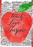 Teach Love Inspire Notebook (7 x 10 Inches): A Ruled Notebook/Journal/Composition Book for Teachers with Modern Typography Cover (Teal/Aqua Cover) Thank You/End of Year Gifts and Presents