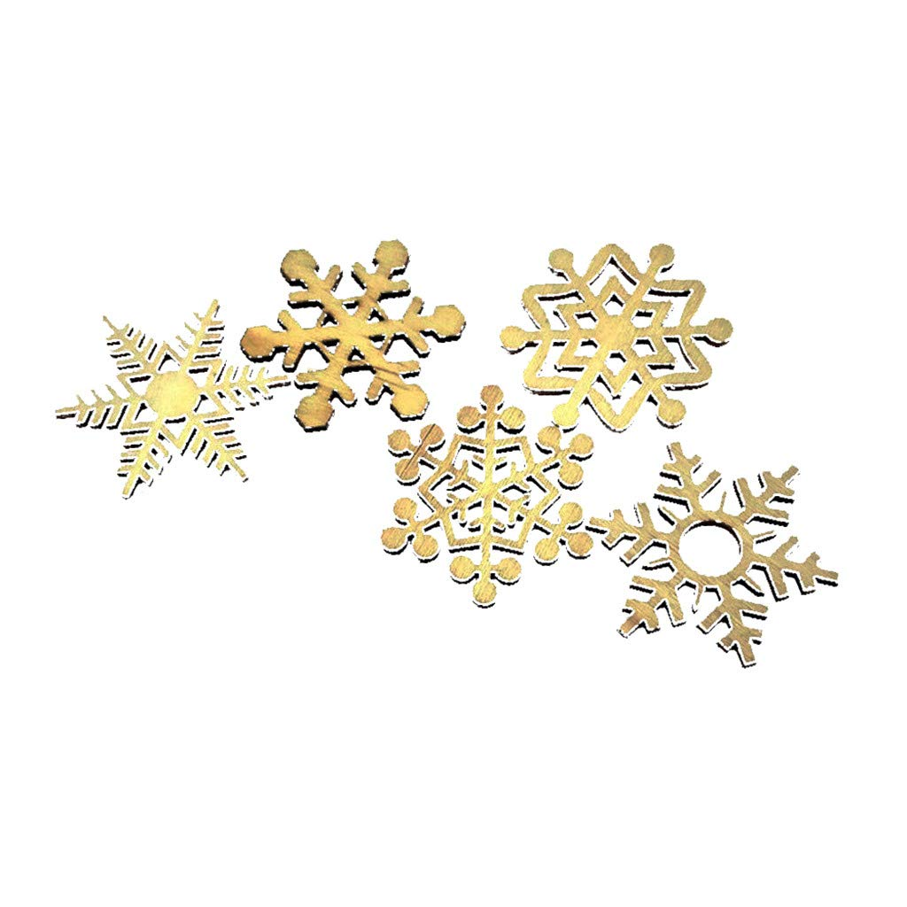 Mome ʕ •ᴥ•ʔ Newest Christmas ʕ •ᴥ•ʔ 5-20Pcs Assorted Wooden Snowflake Christmas Ornaments Xmas Wedding Tree Hanging Pendants Decor Sturdy Supplies (A)