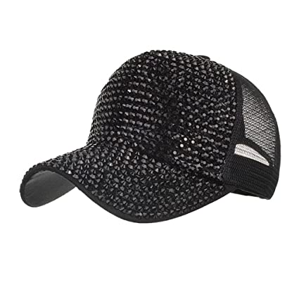 30898a98f95958 Amazon.com: Botrong Women Rhinestone Hats Female Baseball Cap Bling Diamond  Hat (Black): Cell Phones & Accessories