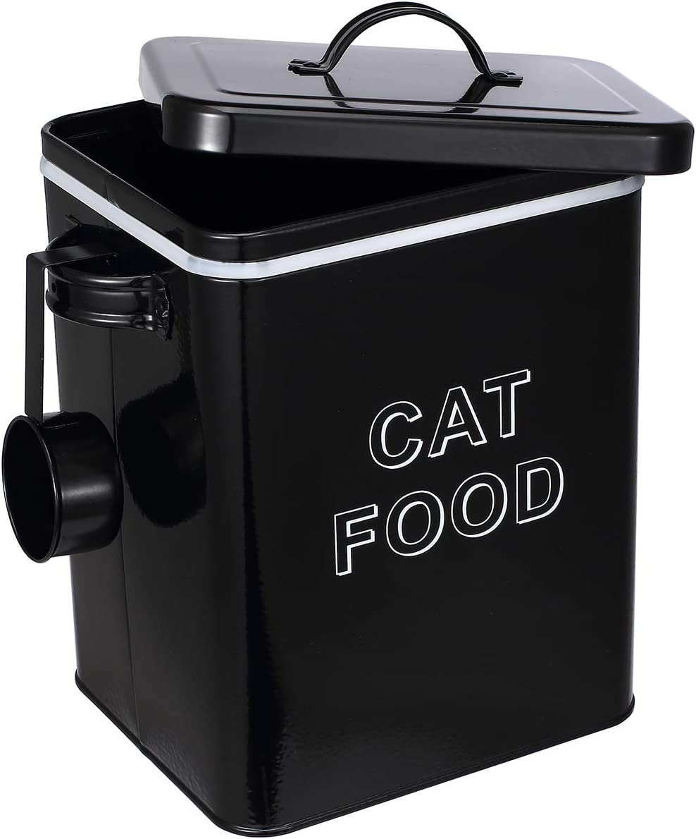 Pethiy Cat Food and Treats Containers Set with Scoop for Cats or Dogs -Tight Fitting Wood Lids - Coated Carbon Steel - Storage Canister Tins-Cat